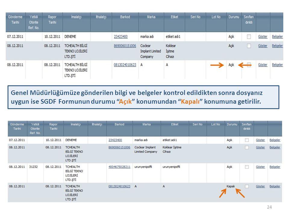 """24 Genel Müdürlüğümüze gönderilen bilgi ve belgeler kontrol edildikten sonra dosyanız uygun ise SGDF Formunun durumu """"Açık"""" konumundan """"Kapalı"""" konumu"""