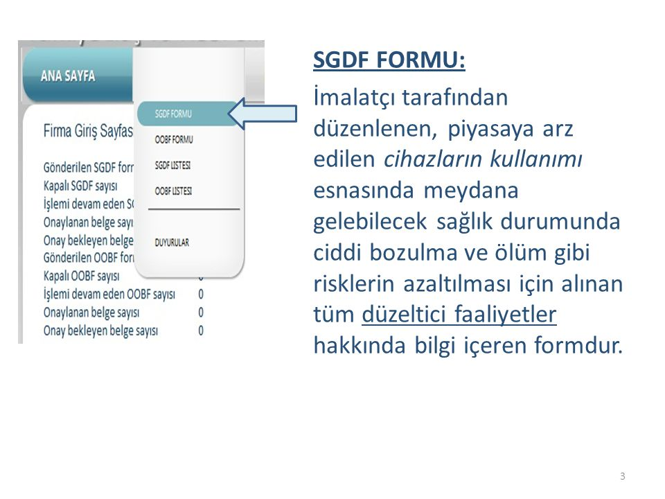 SGDF FORMU: İmalatçı tarafından düzenlenen, piyasaya arz edilen cihazların kullanımı esnasında meydana gelebilecek sağlık durumunda ciddi bozulma ve ö