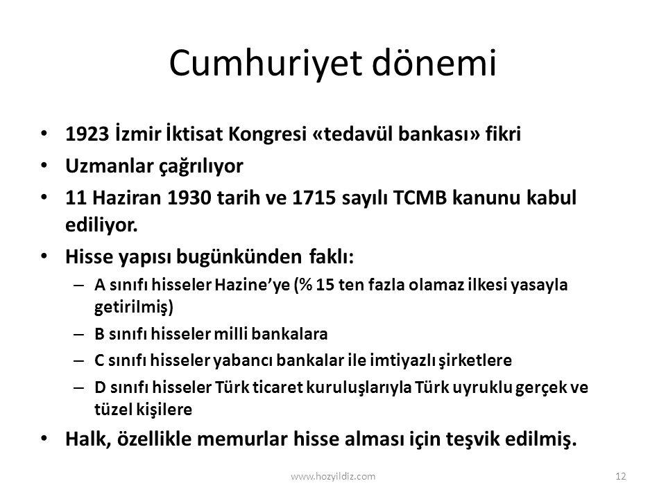 Cumhuriyet dönemi • 1923 İzmir İktisat Kongresi «tedavül bankası» fikri • Uzmanlar çağrılıyor • 11 Haziran 1930 tarih ve 1715 sayılı TCMB kanunu kabul