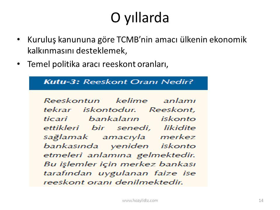 O yıllarda • Kuruluş kanununa göre TCMB'nin amacı ülkenin ekonomik kalkınmasını desteklemek, • Temel politika aracı reeskont oranları, www.hozyildiz.c