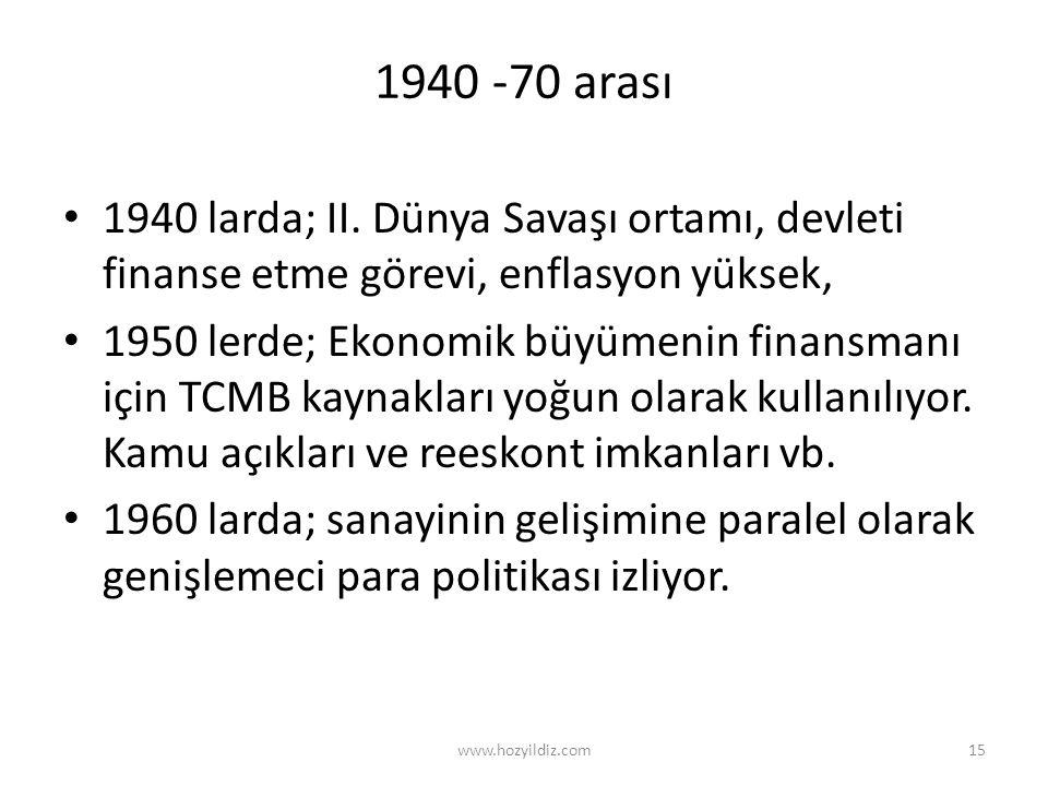1940 -70 arası • 1940 larda; II. Dünya Savaşı ortamı, devleti finanse etme görevi, enflasyon yüksek, • 1950 lerde; Ekonomik büyümenin finansmanı için
