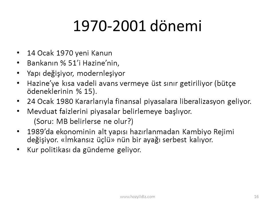 1970-2001 dönemi • 14 Ocak 1970 yeni Kanun • Bankanın % 51'i Hazine'nin, • Yapı değişiyor, modernleşiyor • Hazine'ye kısa vadeli avans vermeye üst sın