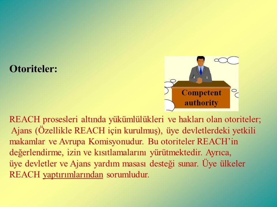 Otoriteler: REACH prosesleri altında yükümlülükleri ve hakları olan otoriteler; Ajans (Özellikle REACH için kurulmuş), üye devletlerdeki yetkili makamlar ve Avrupa Komisyonudur.