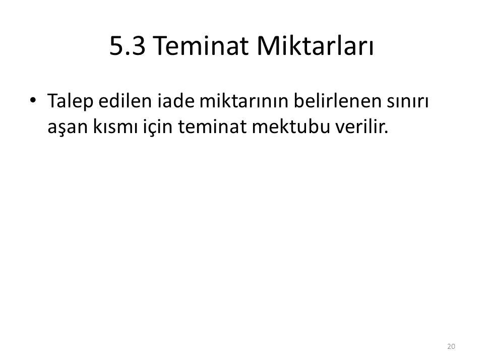 5.3 Teminat Miktarları • Talep edilen iade miktarının belirlenen sınırı aşan kısmı için teminat mektubu verilir. 20