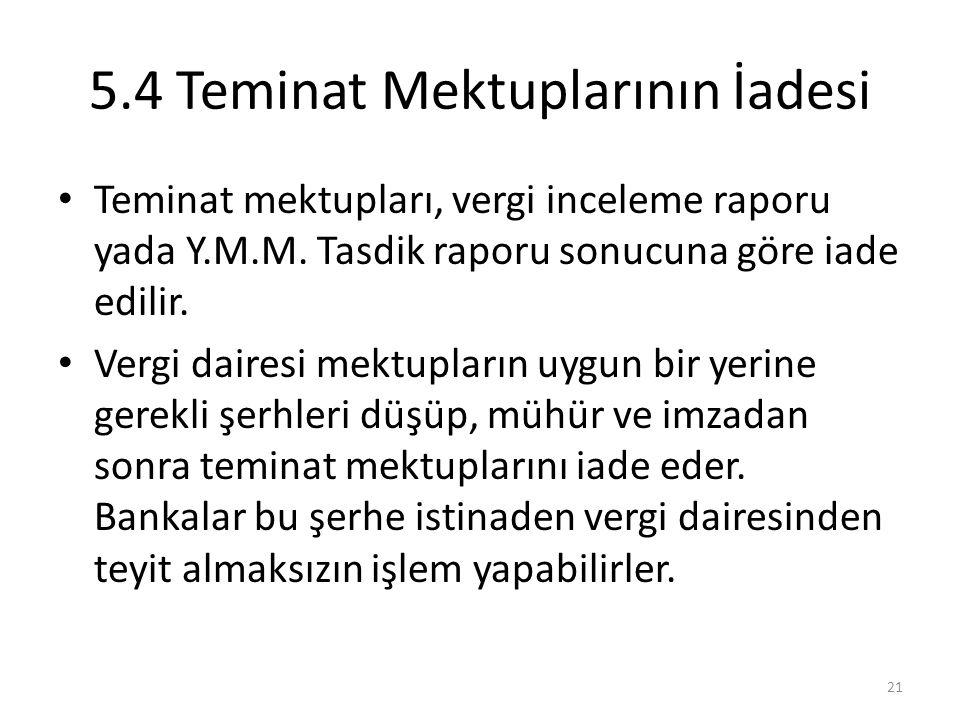 5.4 Teminat Mektuplarının İadesi • Teminat mektupları, vergi inceleme raporu yada Y.M.M. Tasdik raporu sonucuna göre iade edilir. • Vergi dairesi mekt