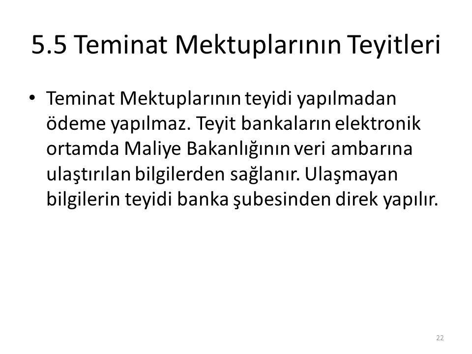 5.5 Teminat Mektuplarının Teyitleri • Teminat Mektuplarının teyidi yapılmadan ödeme yapılmaz. Teyit bankaların elektronik ortamda Maliye Bakanlığının