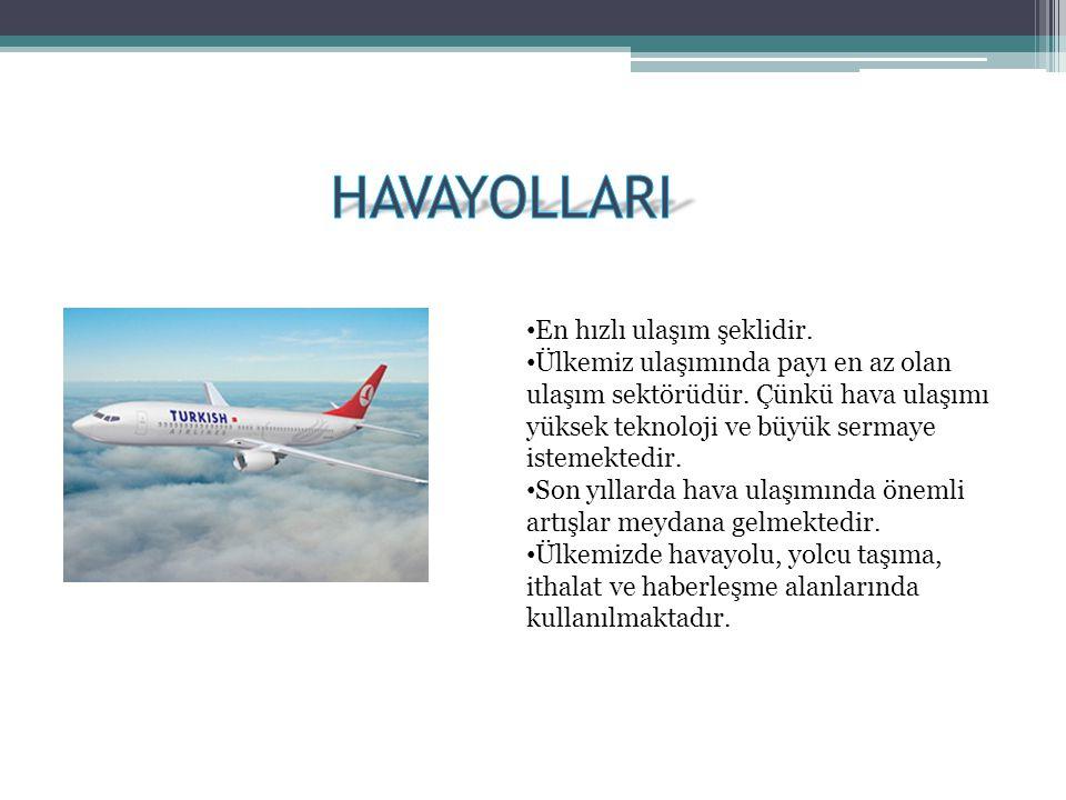 • En hızlı ulaşım şeklidir. • Ülkemiz ulaşımında payı en az olan ulaşım sektörüdür. Çünkü hava ulaşımı yüksek teknoloji ve büyük sermaye istemektedir.