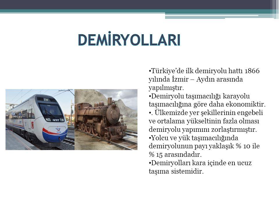 • Türkiye'de ilk demiryolu hattı 1866 yılında İzmir – Aydın arasında yapılmıştır. • Demiryolu taşımacılığı karayolu taşımacılığına göre daha ekonomikt