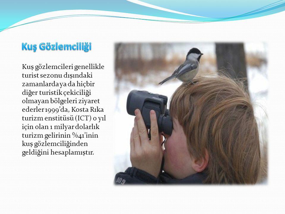 Kuş gözlemcileri genellikle turist sezonu dışındaki zamanlarda ya da hiçbir diğer turistik çekiciliği olmayan bölgeleri ziyaret ederler 1999'da, Kosta