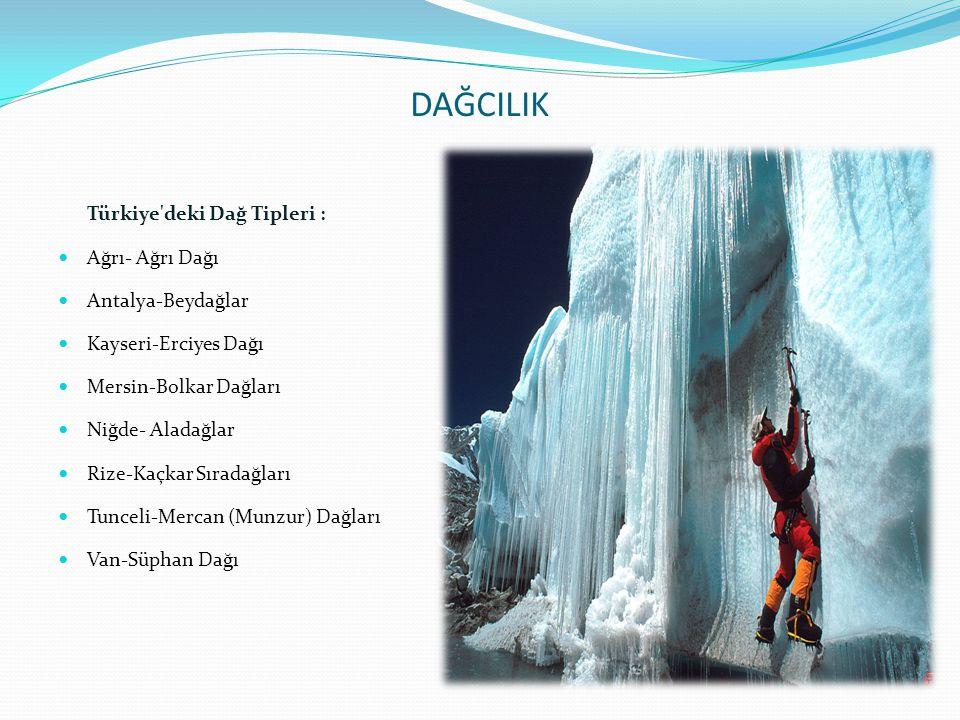 DAĞCILIK Türkiye'deki Dağ Tipleri :  Ağrı- Ağrı Dağı  Antalya-Beydağlar  Kayseri-Erciyes Dağı  Mersin-Bolkar Dağları  Niğde- Aladağlar  Rize-Kaç
