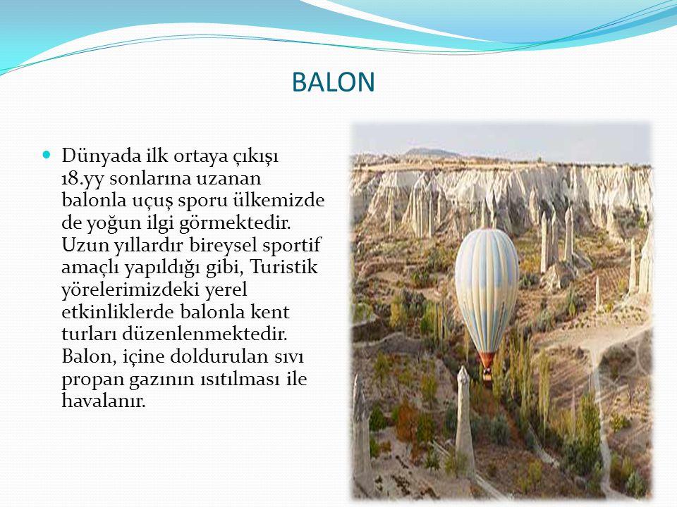 BALON  Dünyada ilk ortaya çıkışı 18.yy sonlarına uzanan balonla uçuş sporu ülkemizde de yoğun ilgi görmektedir. Uzun yıllardır bireysel sportif amaçl