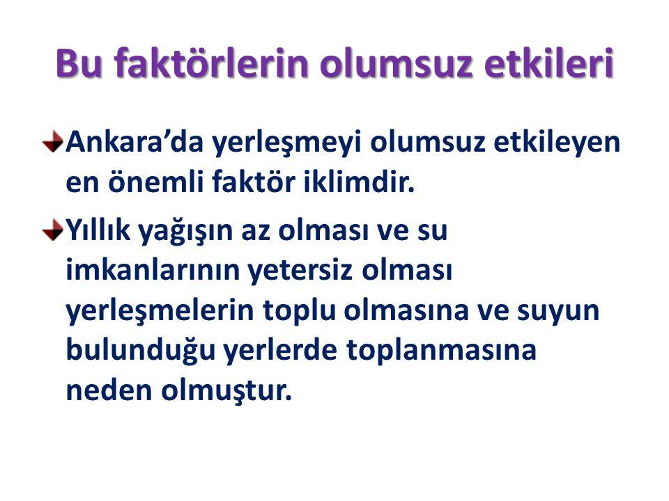 Bu faktörlerin olumsuz etkileri Ankara'da yerleşmeyi olumsuz etkileyen en önemli faktör iklimdir. Yıllık yağışın az olması ve su imkanlarının yetersiz
