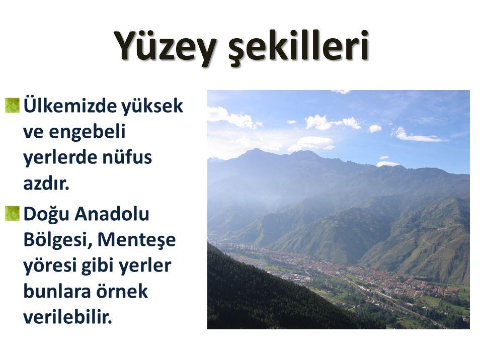 Yüzey şekilleri Ülkemizde yüksek ve engebeli yerlerde nüfus azdır. Doğu Anadolu Bölgesi, Menteşe yöresi gibi yerler bunlara örnek verilebilir.