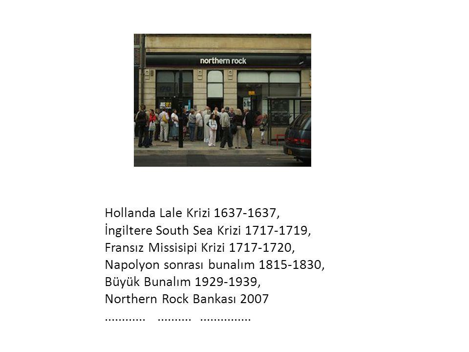 Hollanda Lale Krizi 1637-1637, İngiltere South Sea Krizi 1717-1719, Fransız Missisipi Krizi 1717-1720, Napolyon sonrası bunalım 1815-1830, Büyük Bunal
