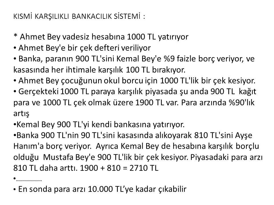 KISMİ KARŞILIKLI BANKACILIK SİSTEMİ : * Ahmet Bey vadesiz hesabına 1000 TL yatırıyor • Ahmet Bey e bir çek defteri veriliyor • Banka, paranın 900 TL sini Kemal Bey e %9 faizle borç veriyor, ve kasasında her ihtimale karşılık 100 TL bırakıyor.
