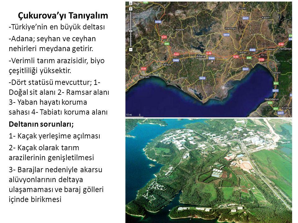 Çukurova'yı Tanıyalım -Türkiye'nin en büyük deltası -Adana; seyhan ve ceyhan nehirleri meydana getirir. -Verimli tarım arazisidir, biyo çeşitliliği yü