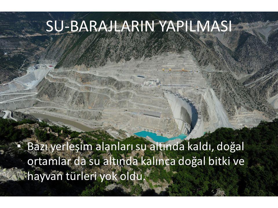 SU-BARAJLARIN YAPILMASI • Bazı yerleşim alanları su altında kaldı, doğal ortamlar da su altında kalınca doğal bitki ve hayvan türleri yok oldu.