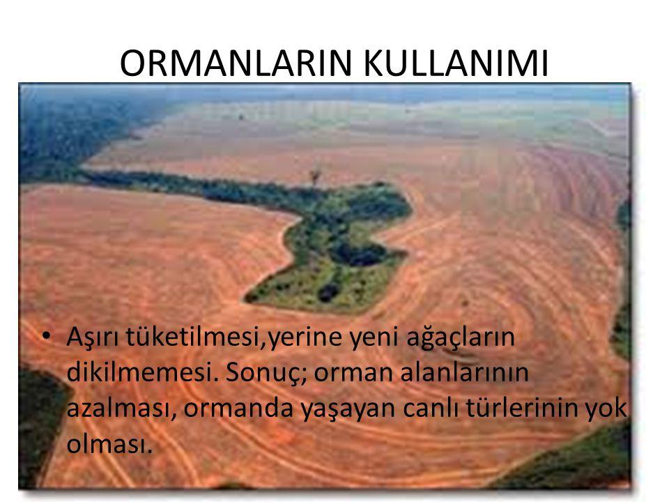 ORMANLARIN KULLANIMI • Aşırı tüketilmesi,yerine yeni ağaçların dikilmemesi. Sonuç; orman alanlarının azalması, ormanda yaşayan canlı türlerinin yok ol