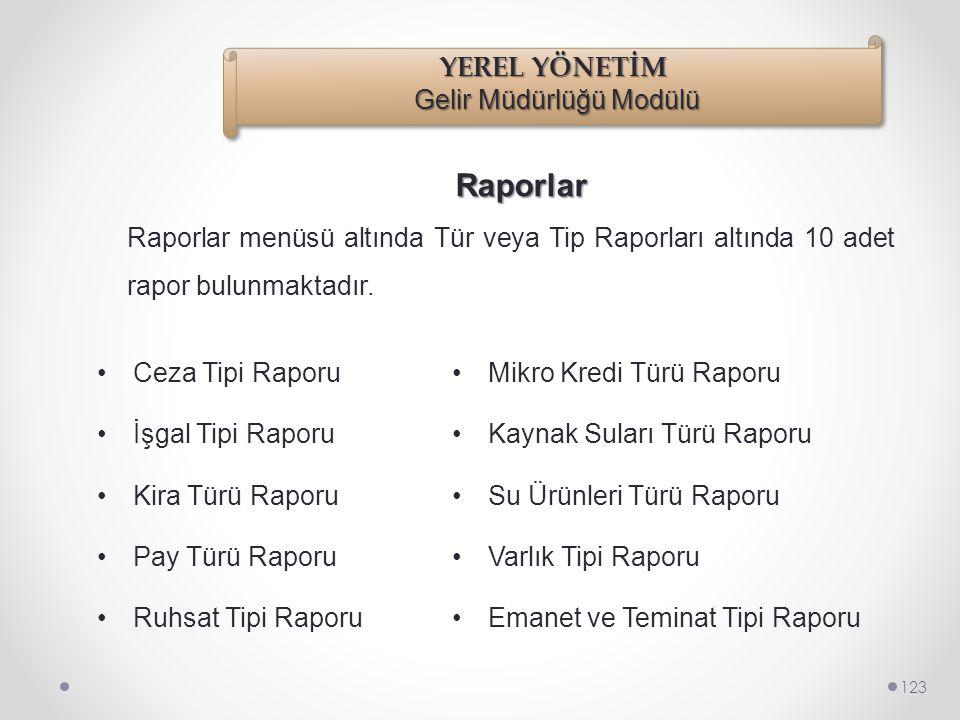 Raporlar 122 Raporlar menüsü altında 24 adet rapor bulunmaktadır. •Takip Raporu •Ceza Raporu •Kira Raporu •Pay Raporu •Ruhsat Raporu •İşgal Raporu •Va