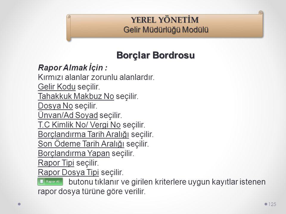 Borçlar Bordrosu 124 Raporlar/Borçlar Bordrosu seçilir.