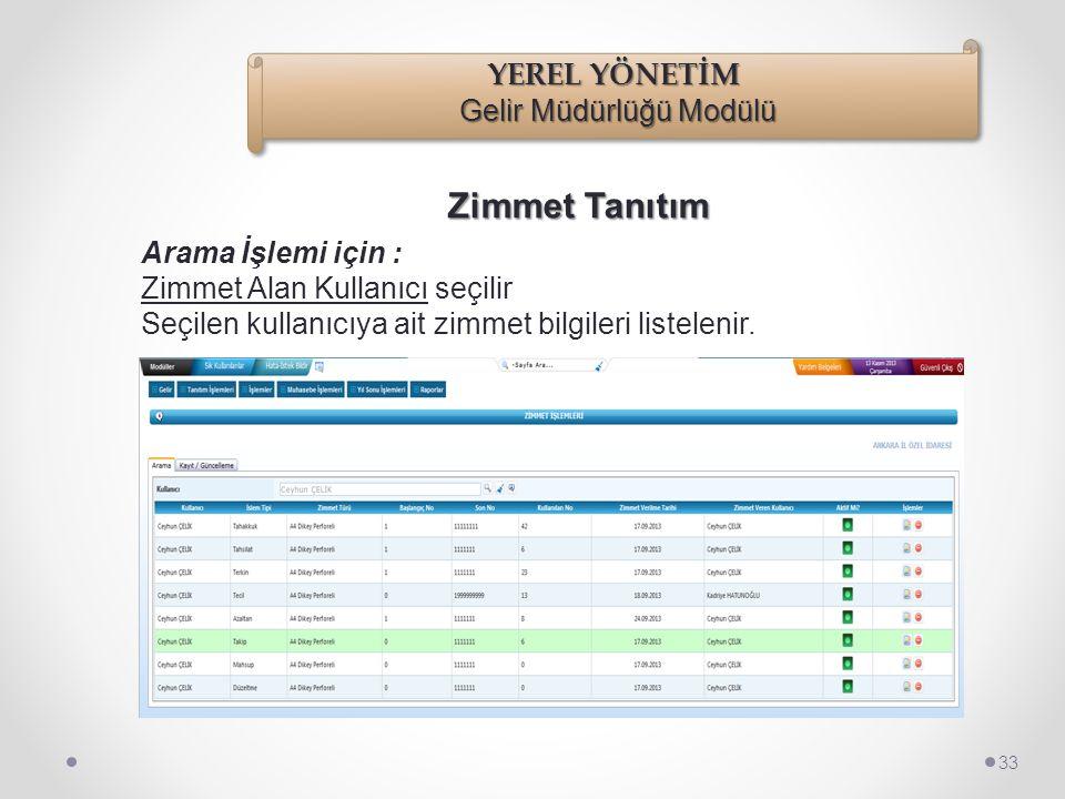 Zimmet Tanıtım 32 Zimmet Alan Kullanıcı bilgisi seçildiğinde, eğer bu kullanıcı üzerine daha önceden yapılmış zimmetler var ise ve bu zimmetler pasife
