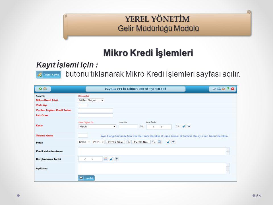 Mikro Kredi İşlemleri 65 İşlemler/Borçlandırma İşlemleri/Mikro Kredi İşlemleri seçilir.