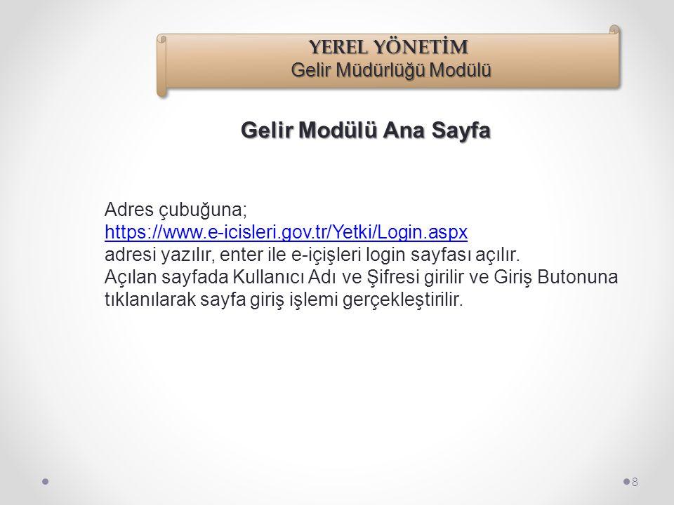 Adres çubuğuna; https://www.e-icisleri.gov.tr/Yetki/Login.aspx adresi yazılır, enter ile e-içişleri login sayfası açılır.