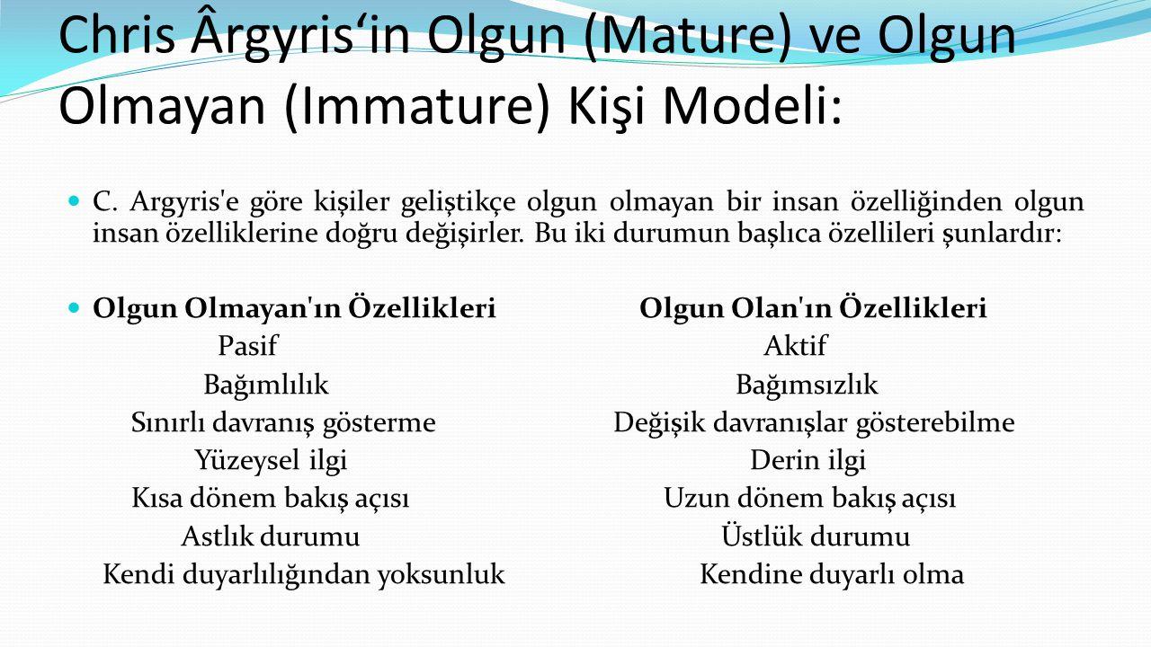 Chris Ârgyris'in Olgun (Mature) ve Olgun Olmayan (Immature) Kişi Modeli:  C. Argyris'e göre kişiler geliştikçe olgun olmayan bir insan özelliğinden o