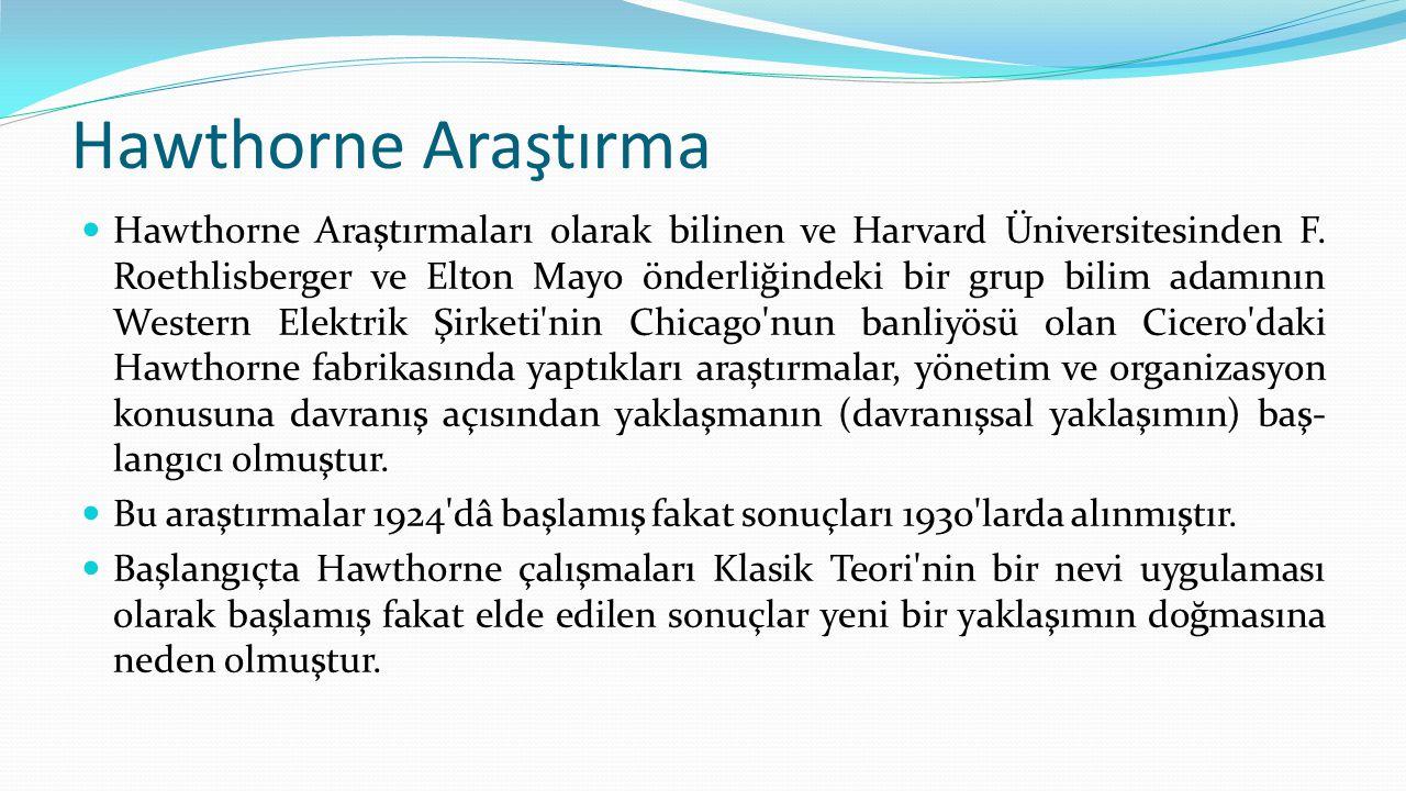 Hawthorne Araştırma  Hawthorne Araştırmaları olarak bilinen ve Harvard Üniversitesinden F. Roethlisberger ve Elton Mayo önderliğindeki bir grup bilim