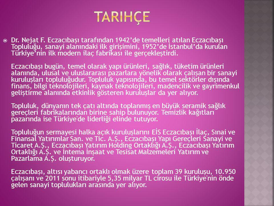  Dr. Nejat F. Eczacıbaşı tarafından 1942'de temelleri atılan Eczacıbaşı Topluluğu, sanayi alanındaki ilk girişimini, 1952'de İstanbul'da kurulan Türk