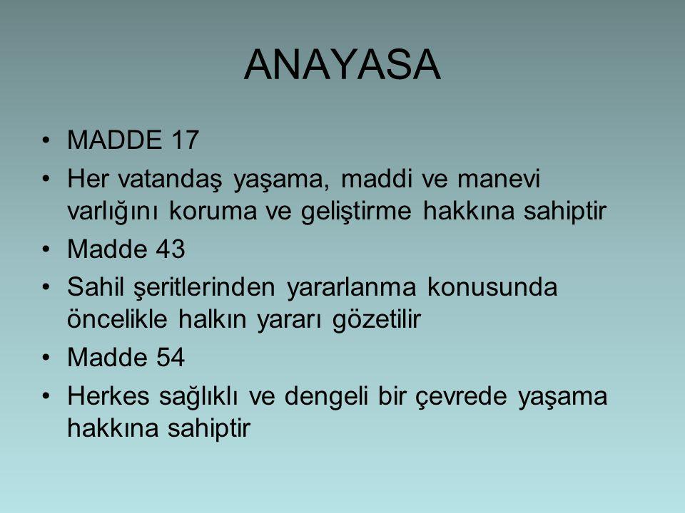 ANAYASA •MADDE 17 •Her vatandaş yaşama, maddi ve manevi varlığını koruma ve geliştirme hakkına sahiptir •Madde 43 •Sahil şeritlerinden yararlanma konu