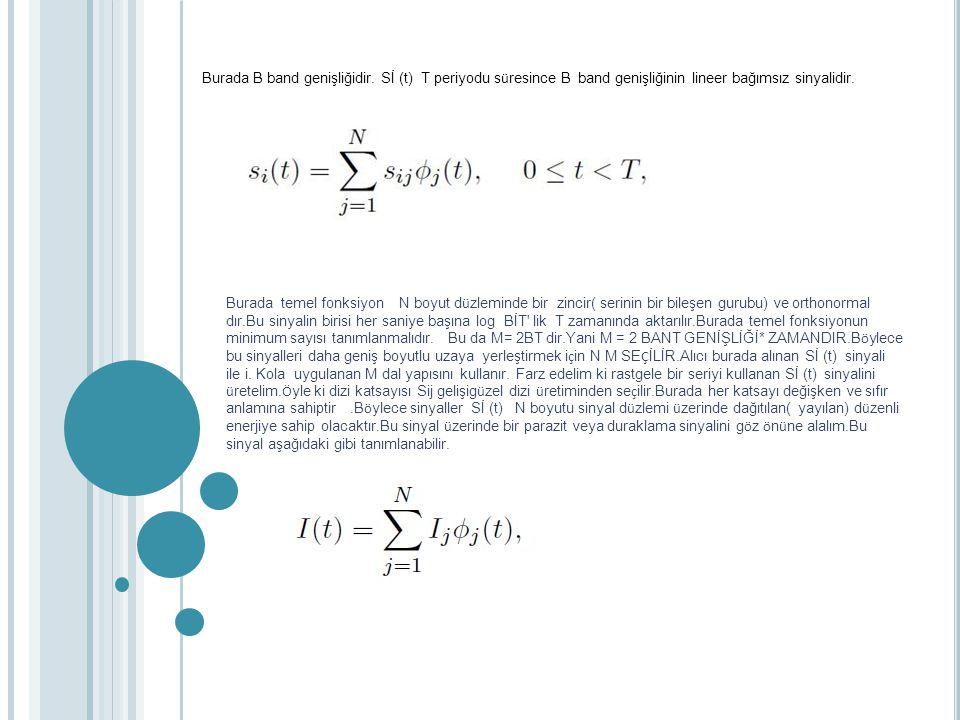 Burada B band genişliğidir. Sİ (t) T periyodu s ü resince B band genişliğinin lineer bağımsız sinyalidir. Burada temel fonksiyon N boyut d ü zleminde