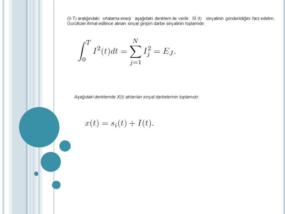 (0-T) aralığındaki ortalama enerji aşağıdaki denklem ile verilir. Sİ (t) sinyalinin g ö nderildiğini farz edelim. G ü r ü lt ü ler ihmal edilince alın