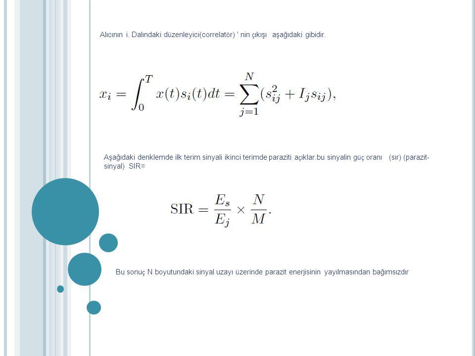Alıcının i. Dalındaki d ü zenleyici(correlat ö r) ' nin ç ıkışı aşağıdaki gibidir. Aşağıdaki denklemde ilk terim sinyali ikinci terimde paraziti a ç ı