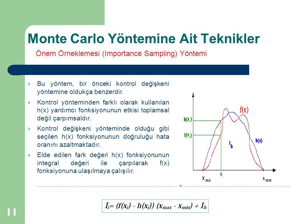 Monte Carlo Yöntemine Ait Teknikler 11  Bu yöntem, bir önceki kontrol değişkeni yöntemine oldukça benzerdir.  Kontrol yönteminden farklı olarak kull