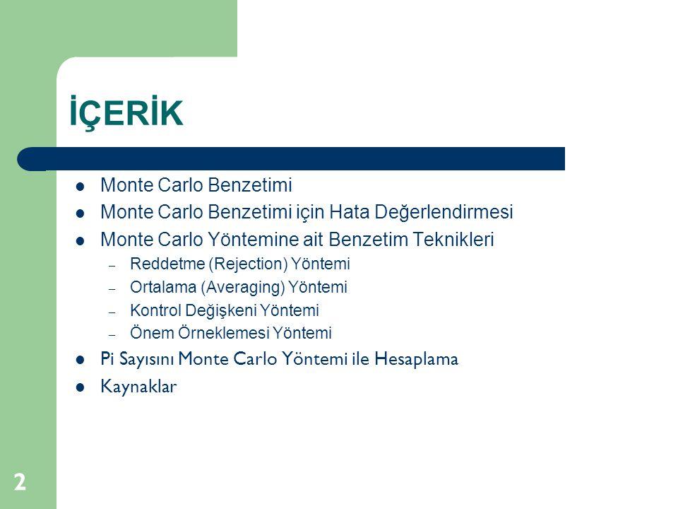 İÇERİK 2  Monte Carlo Benzetimi  Monte Carlo Benzetimi için Hata Değerlendirmesi  Monte Carlo Yöntemine ait Benzetim Teknikleri – Reddetme (Rejecti