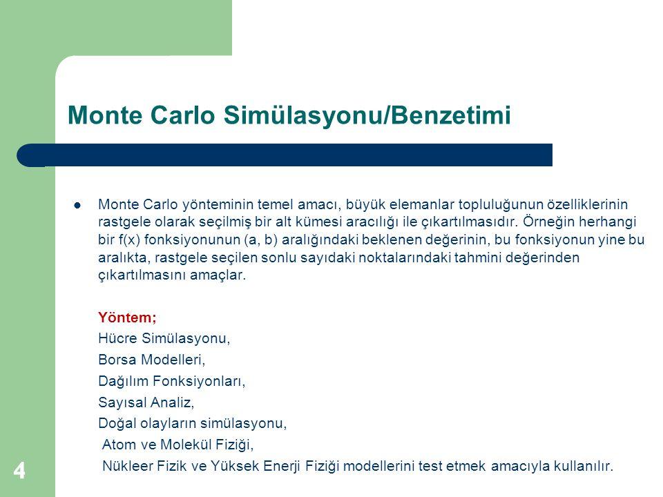 Monte Carlo Simülasyonu/Benzetimi 4  Monte Carlo yönteminin temel amacı, büyük elemanlar topluluğunun özelliklerinin rastgele olarak seçilmiş bir alt