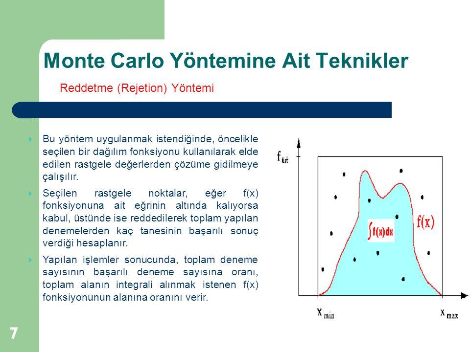 Monte Carlo Yöntemine Ait Teknikler 7  Bu yöntem uygulanmak istendiğinde, öncelikle seçilen bir dağılım fonksiyonu kullanılarak elde edilen rastgele