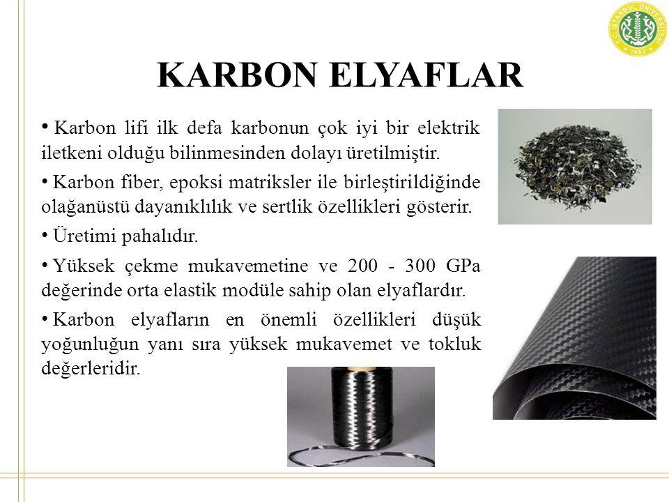KARBON ELYAFLAR • Karbon lifi ilk defa karbonun çok iyi bir elektrik iletkeni olduğu bilinmesinden dolayı üretilmiştir. • Karbon fiber, epoksi matriks