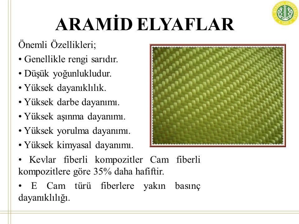 ARAMİD ELYAFLAR Önemli Özellikleri; • Genellikle rengi sarıdır. • Düşük yoğunlukludur. • Yüksek dayanıklılık. • Yüksek darbe dayanımı. • Yüksek aşınma