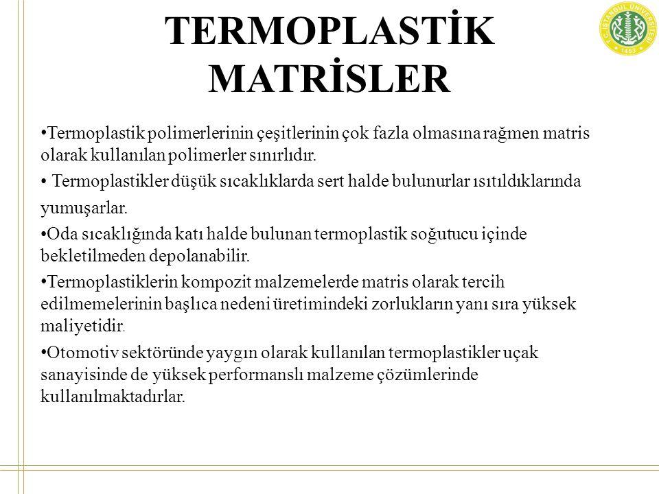 TERMOPLASTİK MATRİSLER • Termoplastik polimerlerinin çeşitlerinin çok fazla olmasına rağmen matris olarak kullanılan polimerler sınırlıdır. • Termopla