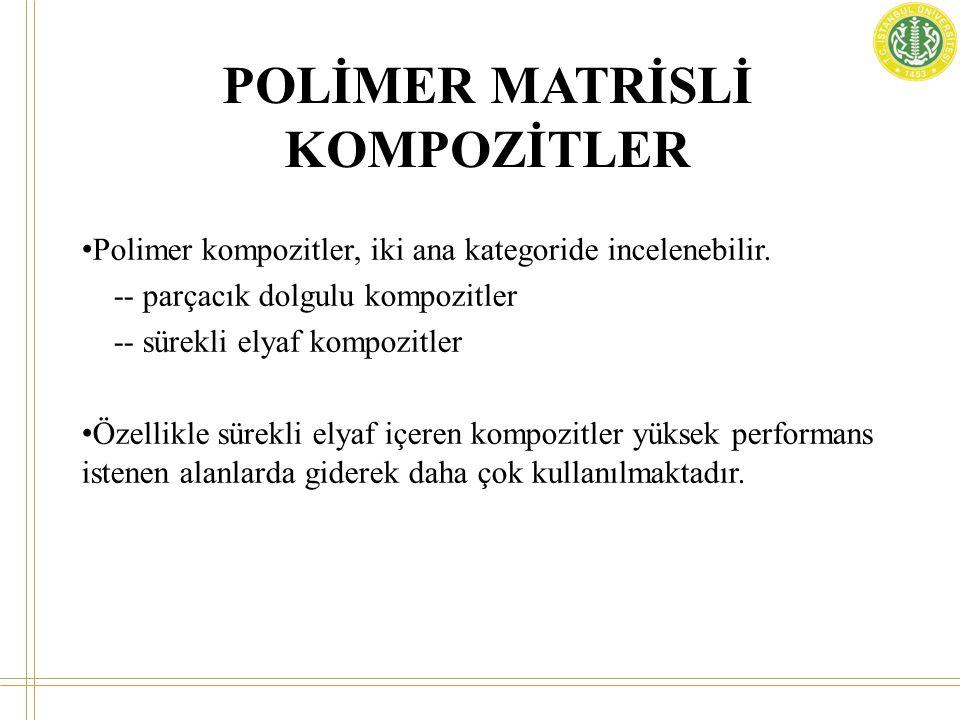 POLİMER MATRİSLİ KOMPOZİTLER • Polimer kompozitler, iki ana kategoride incelenebilir. -- parçacık dolgulu kompozitler -- sürekli elyaf kompozitler • Ö