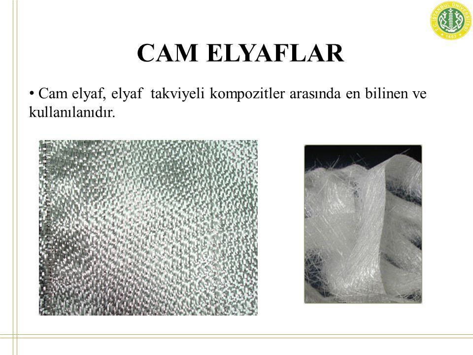 CAM ELYAFLAR Cam elyafın bazı özellikleri aşağıdaki gibi özetlenebilir ; • Yüksek çekme mukavemetine sahiptirler, birim ağırlık başına mukavemeti çeliğinkinden daha yüksektir.