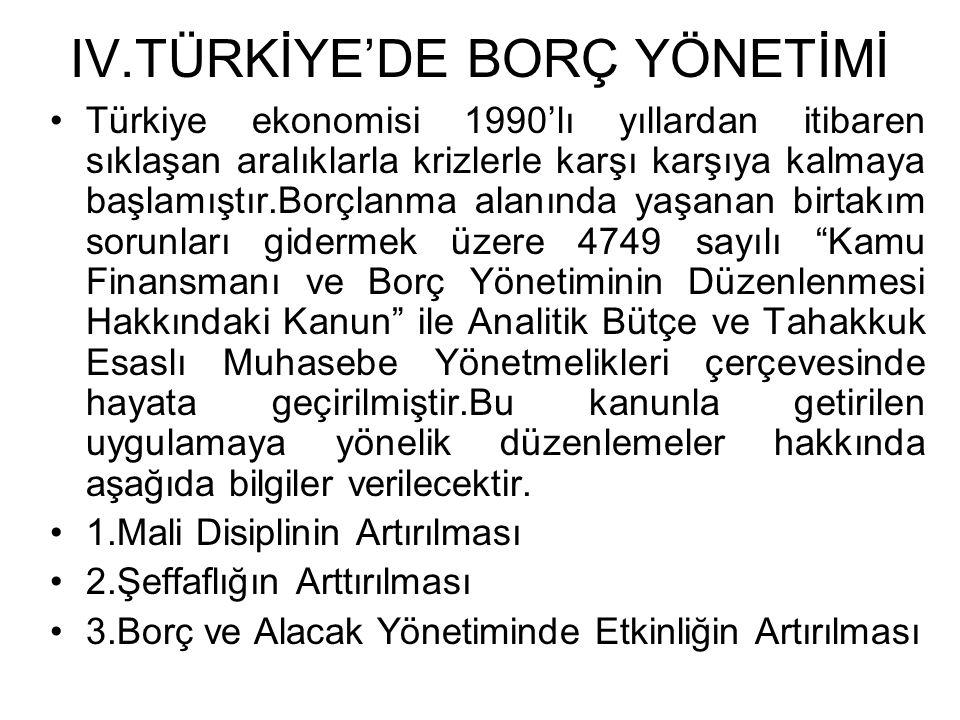 IV.TÜRKİYE'DE BORÇ YÖNETİMİ •Türkiye ekonomisi 1990'lı yıllardan itibaren sıklaşan aralıklarla krizlerle karşı karşıya kalmaya başlamıştır.Borçlanma a
