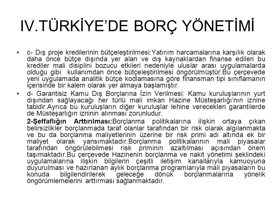 IV.TÜRKİYE'DE BORÇ YÖNETİMİ •c- Dış proje kredilerinin bütçeleştirilmesi:Yatırım harcamalarına karşılık olarak daha önce bütçe dışında yer alan ve dış