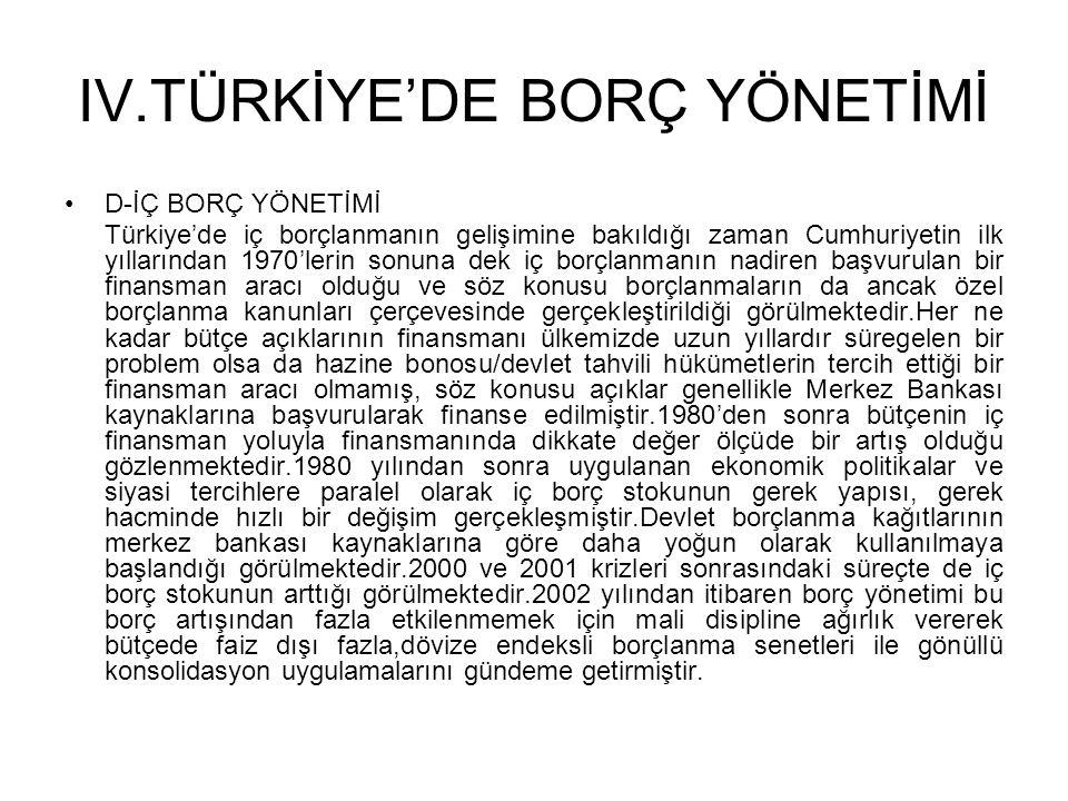 IV.TÜRKİYE'DE BORÇ YÖNETİMİ •D-İÇ BORÇ YÖNETİMİ Türkiye'de iç borçlanmanın gelişimine bakıldığı zaman Cumhuriyetin ilk yıllarından 1970'lerin sonuna d