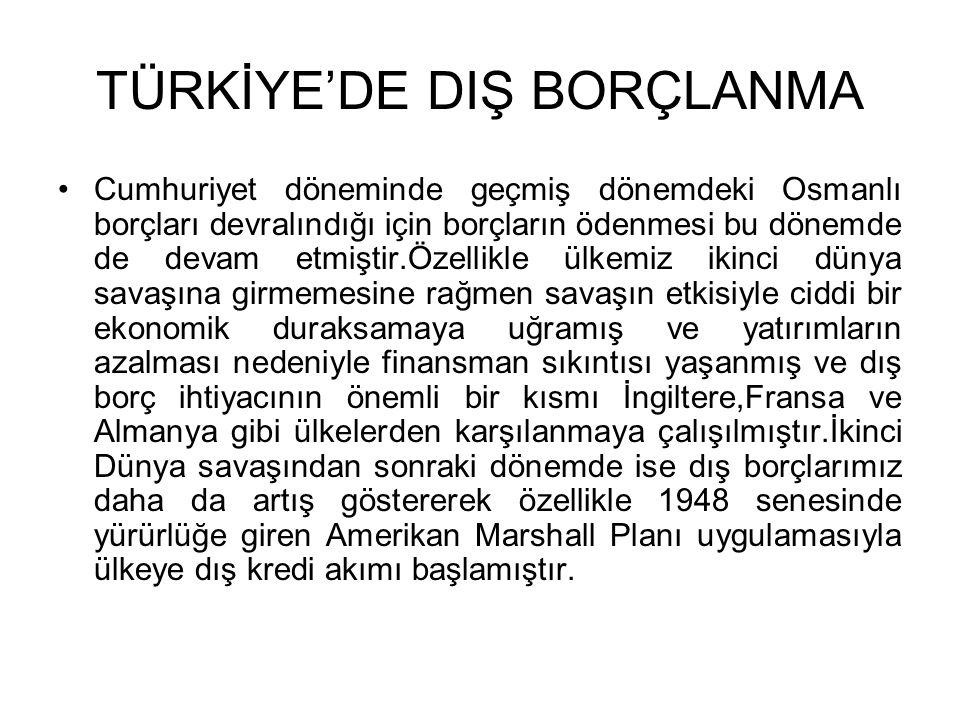 TÜRKİYE'DE DIŞ BORÇLANMA •Cumhuriyet döneminde geçmiş dönemdeki Osmanlı borçları devralındığı için borçların ödenmesi bu dönemde de devam etmiştir.Öze