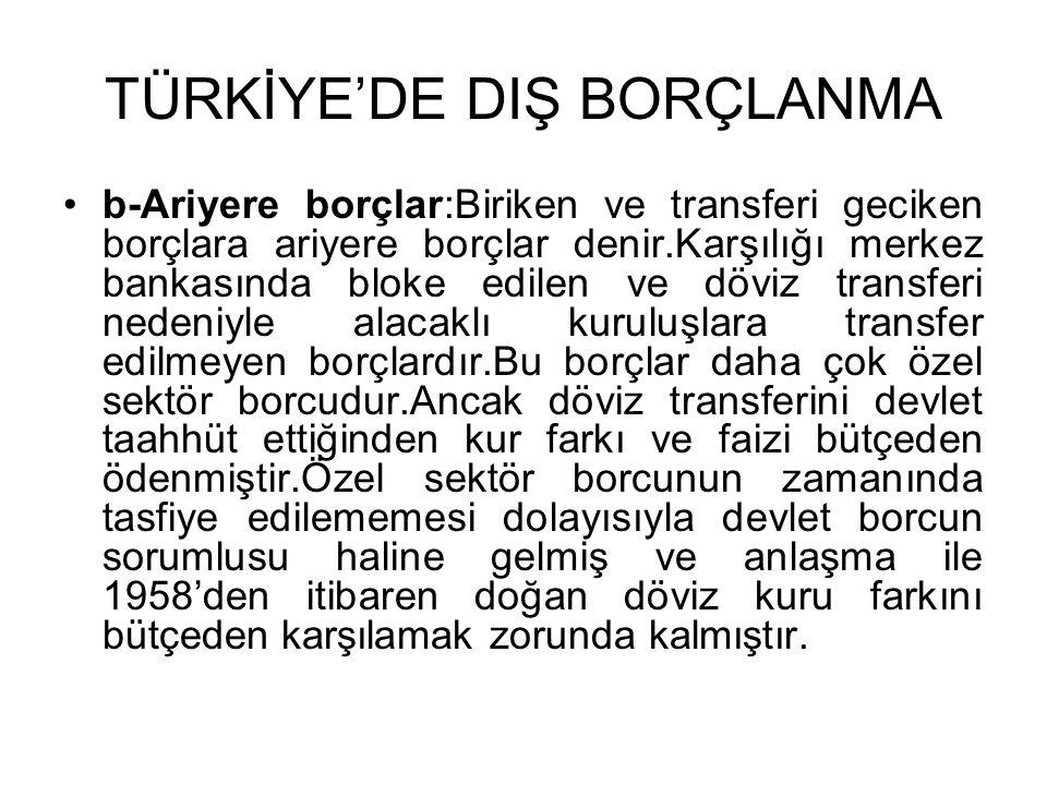 TÜRKİYE'DE DIŞ BORÇLANMA •b-Ariyere borçlar:Biriken ve transferi geciken borçlara ariyere borçlar denir.Karşılığı merkez bankasında bloke edilen ve dö