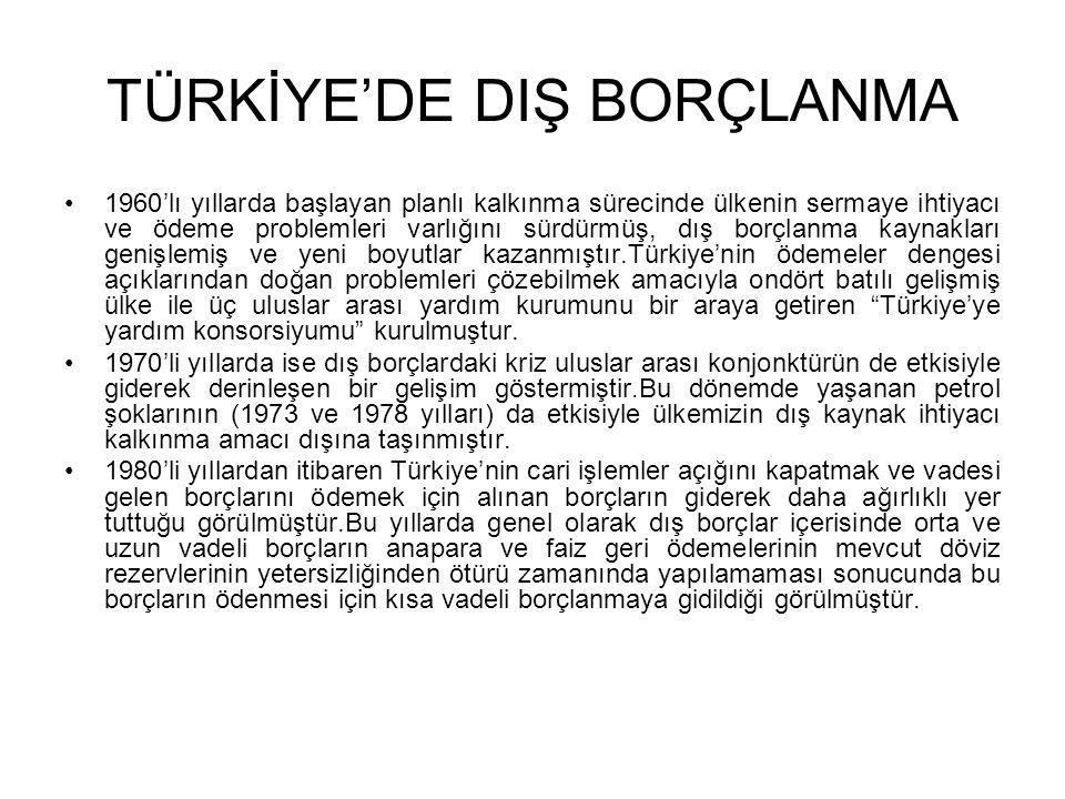 TÜRKİYE'DE DIŞ BORÇLANMA •1960'lı yıllarda başlayan planlı kalkınma sürecinde ülkenin sermaye ihtiyacı ve ödeme problemleri varlığını sürdürmüş, dış b
