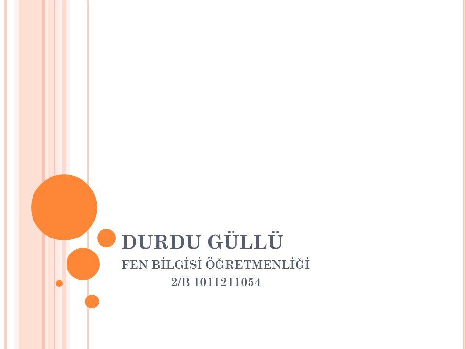 DURDU GÜLLÜ FEN BİLGİSİ ÖĞRETMENLİĞİ 2/B 1011211054